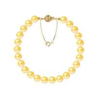 Bracelet Rang - Perles Rondes 7-8 mm - Qualité AA - Fermoir Boule Striée + Chaine de Sécurité Or 750 Millièmes