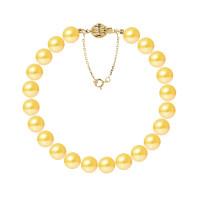 Bracelet Rang - Perles Rondes 8-9 mm - Qualité AA - Fermoir Boule Striée + Chaine de Sécurité Or 750 Millièmes