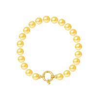 Bracelet Rang - Perles Rondes 7-8 mm - Qualité AA - Fermoir Anneau Marin MM Or 750 Millièmes