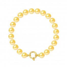 Bracelet Rang - Perles Rondes 8-9 mm - Qualité AA - Fermoir Anneau Marin MM Or 750 Millièmes