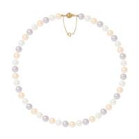Collier Rang - Perles Rondes 8-9 mm - Qualité AA - Fermoir Boule Striée + Chaine de Sécurité Or 750 Millièmes