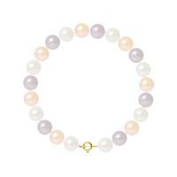 Bracelet Rang - Perles Rondes 8-9 mm - Qualité AA - Anneau Ressort Or 750 Millièmes