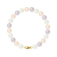 Bracelet Rang - Perles Rondes 8-9 mm - Qualité AA - Mousqueton Or 750 Millièmes