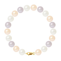 Bracelet Rang - Perles Rondes 9-10 mm - Qualité AA - Mousqueton Or 750 Millièmes