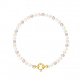 Bracelet Rang - Perles Rondes 4-5 mm - Qualité AA - Fermoir Anneau Marin PM Or 750 Millièmes