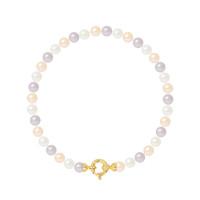 Bracelet Rang - Perles Rondes 5-6 mm - Qualité AA - Fermoir Anneau Marin PM Or 750 Millièmes