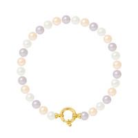 Bracelet Rang - Perles Rondes 6-7 mm - Qualité AA - Fermoir Anneau Marin MM Or 750 Millièmes