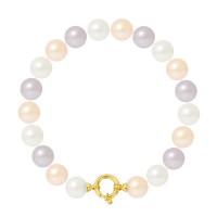 Bracelet Rang - Perles Rondes 9-10 mm - Qualité AA - Fermoir Anneau Marin MM Or 750 Millièmes