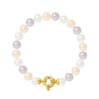 Bracelet Rang - Perles Rondes 8-9 mm - Qualité AA - Fermoir Anneau Marin GM Or 750 Millièmes