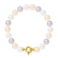 Bracelet Rang - Perles Rondes 9-10 mm - Qualité AA - Fermoir Anneau Marin GM Or 750 Millièmes