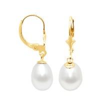 Boucles d'Oreilles en Or et Véritables Perles de Culture d'Eau Douce Poire de 8 mm.