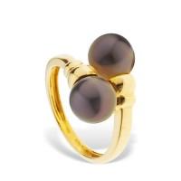 Bague Toi etMoi en Or Jaune 750 Millièmes et Véritables Perles de Culture de Tahiti Rondes de 8 mm.