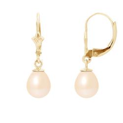 """Boucles d'Oreilles en Or et Véritables Perles de Culture d'Eau Douce Poire Colori """"SWEET PINK"""" de 7-8 mm."""