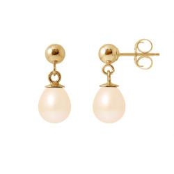 """Boucles d'Oreilles en Or et Véritables Perles de Culture d'Eau Douce Poire Colori """"SWEET PINK"""" de 6-7 mm."""