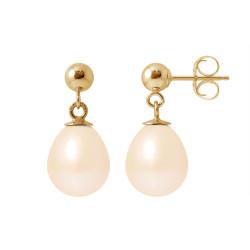 """Boucles d'Oreilles en Or et Véritables Perles de Culture d'Eau Douce Poire Colori """"SWEET PINK"""" de 8-9 mm."""