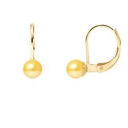 """Boucles d'Oreilles en Or et Véritables Perles de Culture d'Eau Douce Ronde Colori """"GOLD PRESTIGE"""" de 5-6 mm."""