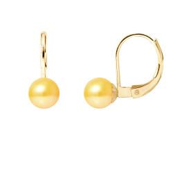 """Boucles d'Oreilles en Or et Véritables Perles de Culture d'Eau Douce Ronde Colori """"GOLD PRESTIGE"""" de 6-7 mm."""