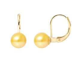 """Boucles d'Oreilles en Or et Véritables Perles de Culture d'Eau Douce Ronde Colori """"GOLD PRESTIGE"""" de 7-8 mm."""