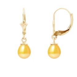 """Boucles d'Oreilles en Or Jaune et Véritables Perles de Culture d'Eau Douce Poire Colori """"GOLD PRESTIGE"""" de 6-7 mm."""