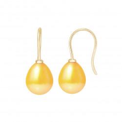 """Boucles d'Oreilles en Or et Véritables Perles de Culture d'Eau Douce Poire Colori """"GOLD PRESTIGE"""" de 8-9 mm."""