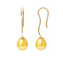 """Boucles d'Oreilles en Or et Véritables Perles de Culture d'Eau Douce Poire Colori """"GOLD PRESTIGE"""" de 7-8 mm."""