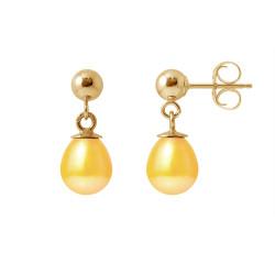 """Boucles d'Oreilles en Or et Véritables Perles de Culture d'Eau Douce Poire Colori """"GOLD PRESTIGE"""" de 6-7 mm."""
