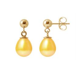 """Boucles d'Oreilles en Or jaune et Véritables Perles de Culture d'Eau Douce Poire Colori """"GOLD PRESTIGE"""" de 7-8 mm."""