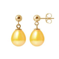 """Boucles d'Oreilles en Or Jaune et Véritables Perles de Culture d'Eau Douce Poire Colori """"GOLD PRESTIGE"""" de 8-9 mm."""