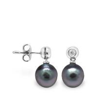 Boucles d'oreilles en Or 750 Millièmes ,Diamants et Véritables Perles de Culture de Tahiti Rondes de 8 mm.