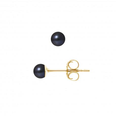 """Boucles d'Oreilles Or 375 Millièmes et Véritable Perle de Culture d'Eau Douce Ronde Colori """"BLACK TAHITI"""" de 4,5-5 mm"""