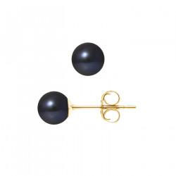 """Boucles d'Oreilles Or 375 Millièmes et Véritable Perle de Culture d'Eau Douce Ronde Colori """"BLACK TAHITI"""" de 6,5-7 mm"""
