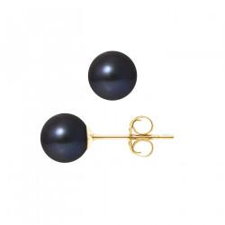 """Boucles d'Oreilles Or 375 Millièmes et Véritable Perle de Culture d'Eau Douce Ronde Colori """"BLACK TAHITI"""" de 8 mm"""