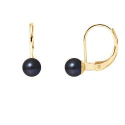 """Boucles d'Oreilles Or 375 Millièmes et Véritable Perle de Culture d'Eau Douce Ronde Colori """"BLACK TAHITI"""" de 5 mm"""