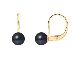 """Boucles d'Oreilles Or 375 Millièmes et Véritable Perle de Culture d'Eau Douce Ronde Colori """"BLACK TAHITI"""" de 6 mm"""