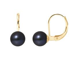 """Boucles d'Oreilles Or 375 Millièmes et Véritable Perle de Culture d'Eau Douce Ronde Colori """"BLACK TAHITI"""" de 7 mm"""
