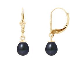"""Boucles d'Oreilles Or 375 Millièmes et Véritables Perles de Culture d'Eau Douce Poire Colori """"BLACK TAHITI"""" de 6 mm"""