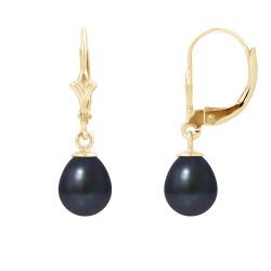 """Boucles d'Oreilles Or 375 Millièmes et Véritables Perles de Culture d'Eau Douce Poire Colori """"BLACK TAHITI"""" de 7 mm"""