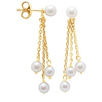 Boucles d'Oreilles en Or Jaune et Véritables Perles de Culture d'Eau Douce Rondes de 4 mm.