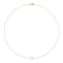 Collier Câble en Or 750 Millièmes et Véritable Perle de Culture d'Eau Douce Ronde de 9 mm.