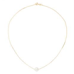 Collier Chaine Forcat en Or 750 Millièmes et Véritable Perle de Culture d'Eau Douce Ronde de 9 mm.