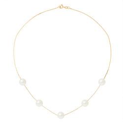 Collier Cable en Or 750 Millièmes et Véritables Perles de Culture d'Eau Douce Rondes de 9 mm.
