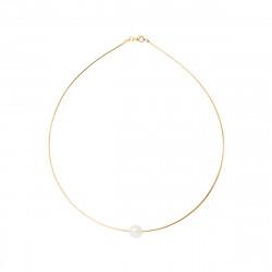 Collier Cable en Or 750 Millièmes et Véritable Perle de Culture d'Eau Douce Ronde de 9 mm.