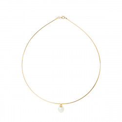 Collier Cable en Or 750 Millièmes et Véritable Perle de Culture d'Eau Douce Poire de 9 mm.