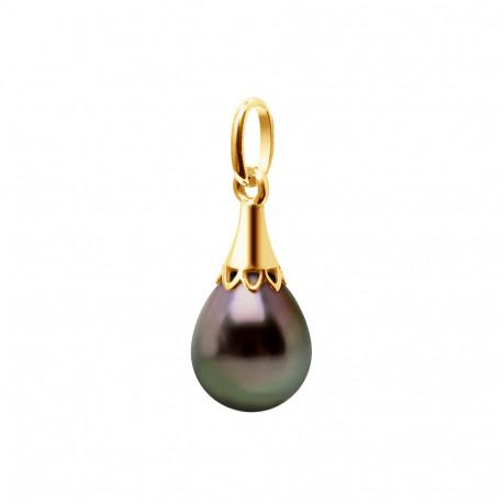Pendentif en Or 750 Millièmes et Véritable Perle de Culture de Tahiti Cerclée de 8 mm.