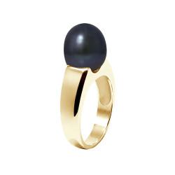 """Bague en Or jaune 750 Millièmes et Véritable Perle de Culture d'Eau Douce Colori """"BLACK TAHITI"""" Poire de 9 mm."""