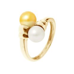 """Bague Toi et Moi Or Jaune 750 Millièmes et Véritables Perles de Cultures d'Eau Douce Colori """"GOLD PRESTIGE"""" Rondes de 7 mm"""