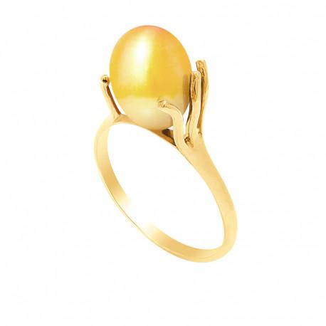 """Bague en Or jaune 750 Millièmes et Véritable Perle de Culture d'Eau Douce Colori """"GOLD PRESTIGE"""" Poire de 9 mm."""