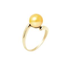 """Bague en Or jaune 750 Millièmes et Véritable Perle de Culture d'Eau Douce Colori """"GOLD PRESTIGE"""" Ronde de 8 mm."""