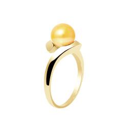 """Bague en Or jaune 750 Millièmes et Véritable Perle de Culture d'Eau Douce Colori """"GOLD PRESTIGE"""" Ronde de 7 mm."""