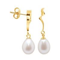 Boucles d'Oreilles en Or Jaune et Véritables Perles de Culture d'Eau Douce Poire de 7 mm.